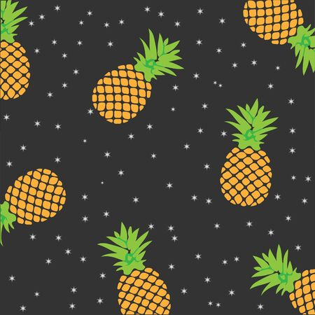 Fresh summer print in pop art style. Vector pineapple in space. Poster or postcard design, template. Vector eps10.