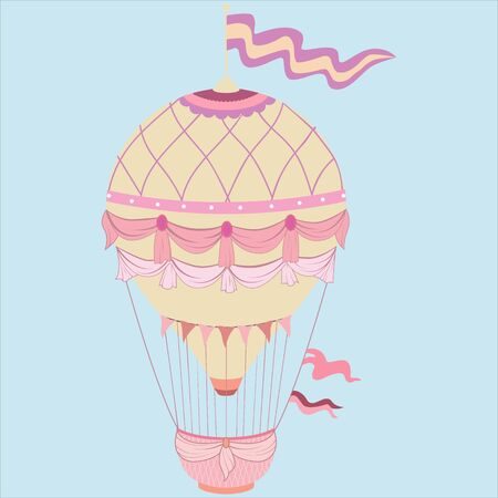 Fairytale pink Balloon Vector flat illustration eps10. Illustration