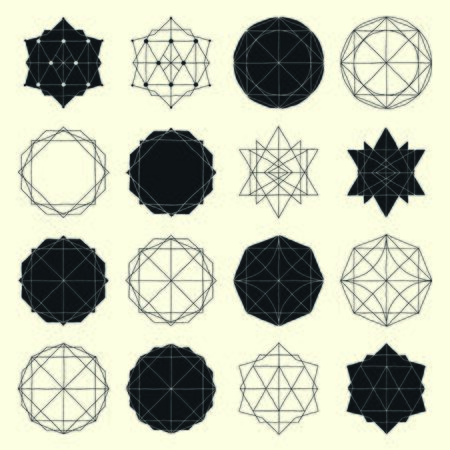 Freehand drawing geometry group. Simple isolated geometric black and white figure