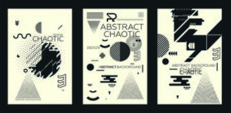 Modern universal chaotic composition of simple geometric shapes in material design. It goes well with the text, poster, magazine, decor. In classic black and white colors