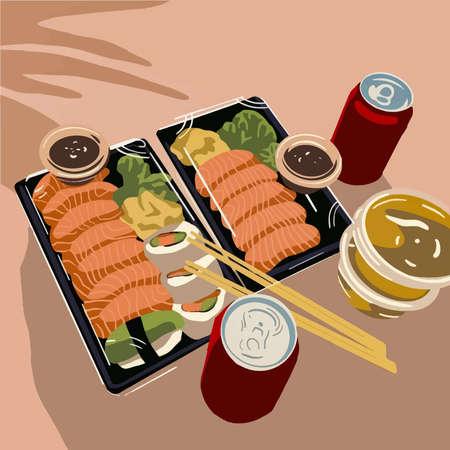 Sashimi and sushi set. Vector fashion background Vektorové ilustrace