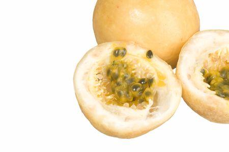 grenadilla: Passion-Fruit on the white Stock Photo