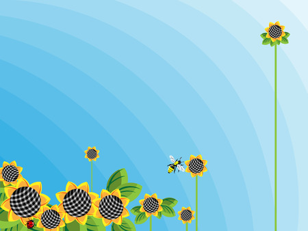 Abstraction of sunflowers on a background of blue sky Vector