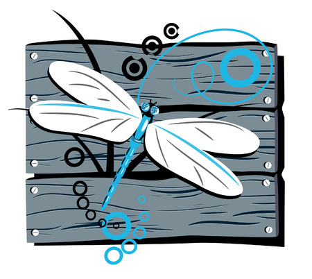 dragonfly against the stylised fence Stock Vector - 6494120