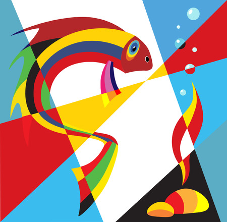 abstract paintings: Fish Pop Art  illustration