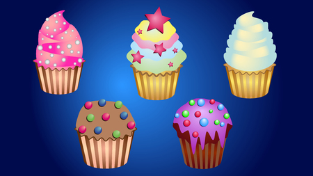 Delicious tasty yummy nice cupcakes and cake with cream and sweets for cooking, cafes, postcards, posters, leaflets, websites Vettoriali