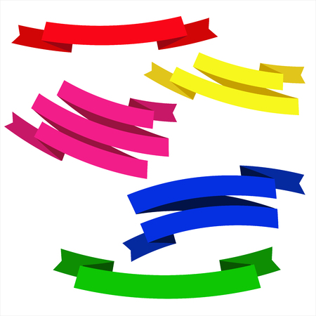 Red yellow blue green purple isolated ribbons for decoration design cards flyers banners websites posters greetings Vector illustration. Illusztráció