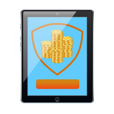 A tablet with a shield that saves money and demonstrates the reliability of a mobile Bank. Vector illustration.
