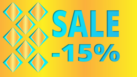 Yellow background with Sale and three-dimensional squares for website decoration, banner, leaflet, booklet.