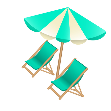 Beach umbrella and chairs to decorate tourist posters, flyers, banners, booklets. Vector illustration. Illustration