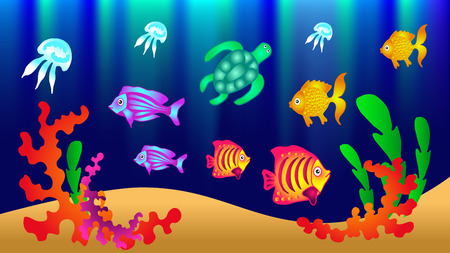 Underwater world with fish, turtle, jellyfish, algae. Vector illustration. Banco de Imagens - 99780420