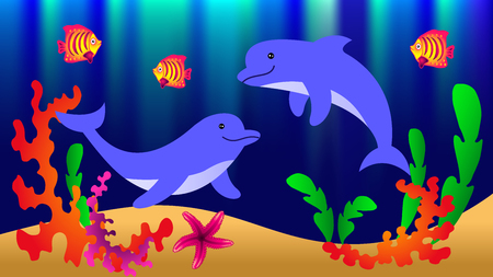 Underwater world with dolphins, fish, corals, starfish and algae. Vector illustration.