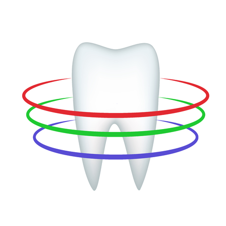 Triple protection of the white tooth from decay and destruction decorate a tube of toothpaste. Vector illustration.