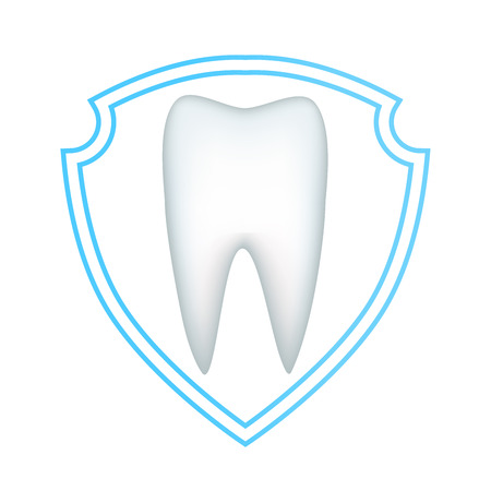 Protection of the white tooth from decay and destruction decorate a tube of toothpaste. Vector illustration.