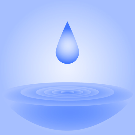 A drop of water falls and creates circles on the water for the decoration of the mineral water label Vector illustration.
