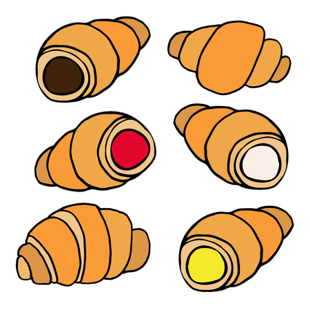 Hand drawn croissants with various fillings in a flat design isolated on white background. Vector illustration.