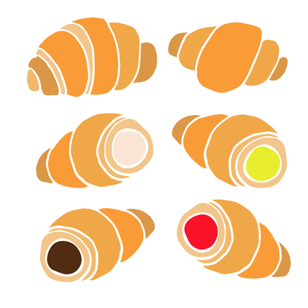 Hand drawn croissants with various fillings in a flat design isolated on white background Vector illustration.
