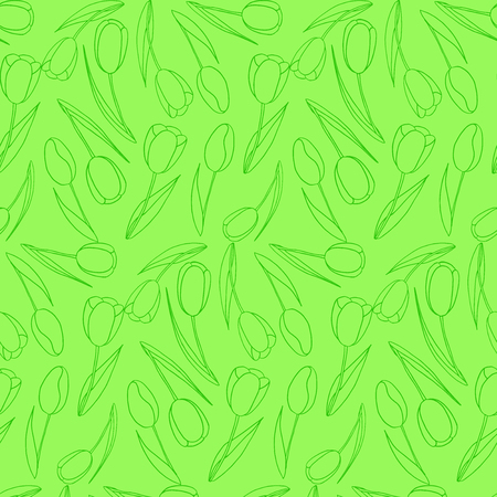 Green background with seamless pattern of tulips for Summer spring vector illustration.