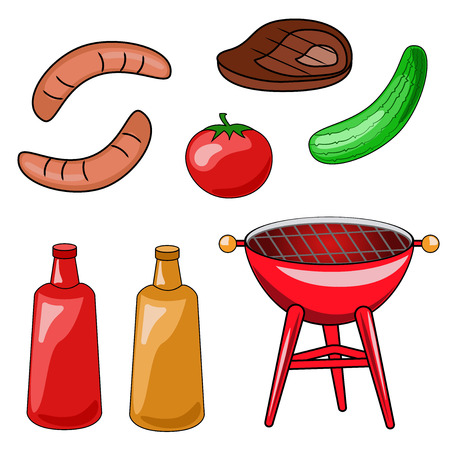 A set of icons of a barbecue. Vector illustration of grilling, sausage, steak, vegetables, sauces. Иллюстрация