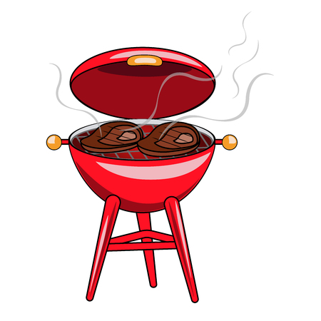 Vector illustration of a red grill with fried meat steaks on a white background. Illustration