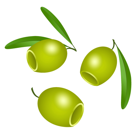 Icon of green olives without pits isolated on white background. Vector illustration for decoration of labels, wrappers, banner, leaflets, brochure. Illustration