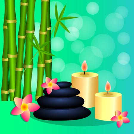 Bamboo, candles, Spa stones for banner, leaflet, brochure, poster, website decoration. Vector illustration. Illustration