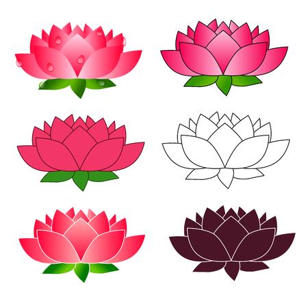 Lotus flower icon isolated on white background. Vector illustration. Flat design. Illustration