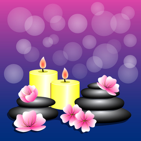 Spa background. Bamboo, candles, Spa stones, flowers  for banner, leaflet, brochure, poster, website decoration. Vector illustration.