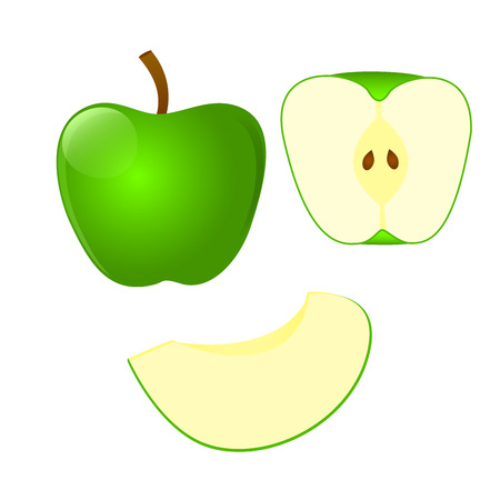 Set of green Apple and cut in half Apple and slice isolated on white background. Vector illustration.