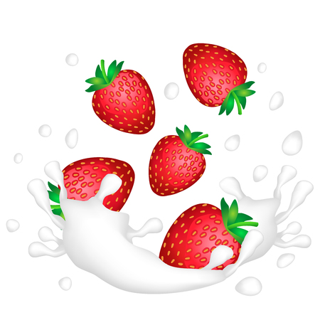 Red strawberries and a splash of milk or yogurt on a white background. Vector illustration.