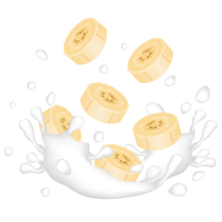Banana pieces and a splash of milk or yogurt on a white background. Vector illustration.