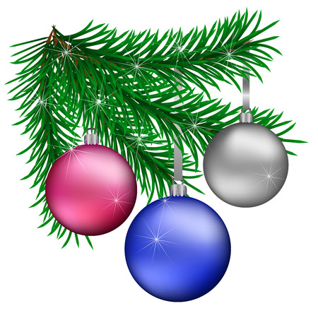 Branch of Christmas trees with blue purple silver Christmas balls on a white background. Vector illustration.