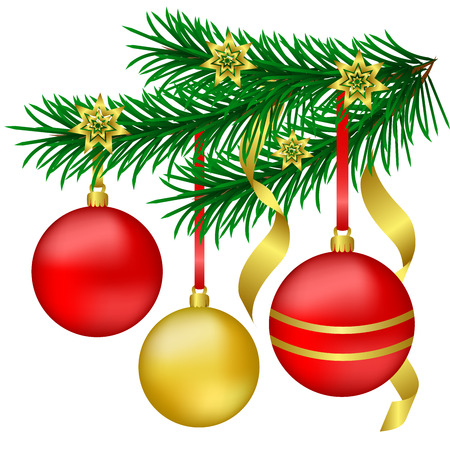 Branch Christmas trees with red and gold Christmas balls on a white background. Vector illustration.