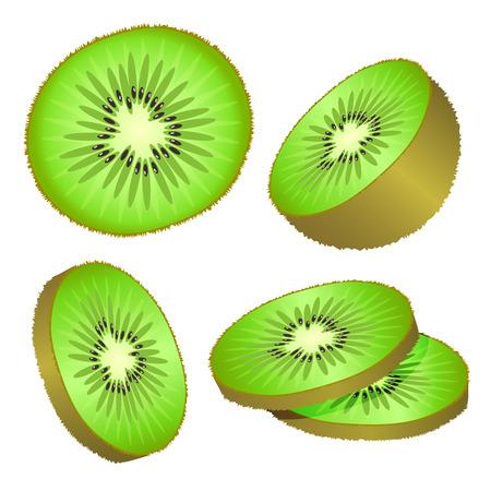Set of kiwi and slices of kiwi illustrations on white background isolated.  Vector illustration.