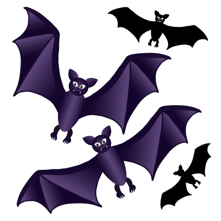 Bat black and purple isolated on white background for Halloween. Vector illustration.