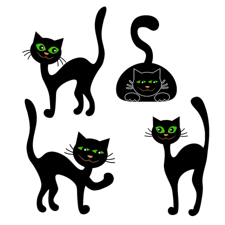 Shape of a black cat isolated on white background for Halloween. Vector illustration.