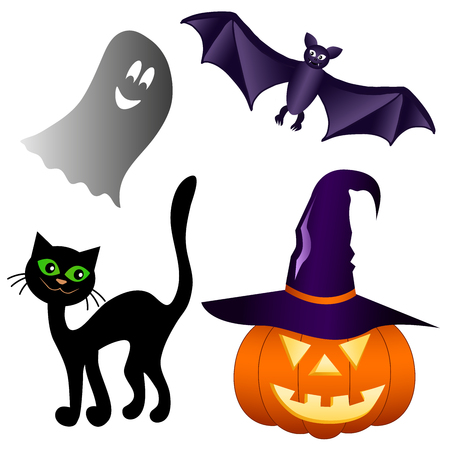 Set of elements for Halloween isolated on white background. Pumpkin with hat black cat bat Ghost. Vector illustration.