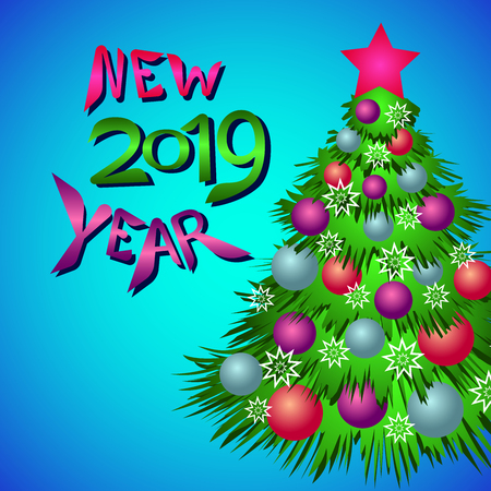 Color inscription New year and Christmas tree with Christmas tree balls on a blue background with stars. Vector illustration.