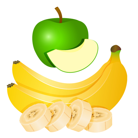 Two yellow bananas and chopped banana slices and a green Apple with a piece of Apple. Vector illustration. 向量圖像