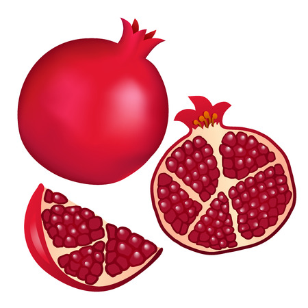 Set of vector illustrations - grenades, half a grenade and a slice of a pomegranate isolated on a white background.