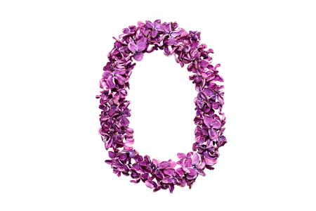 qwerty: Flower letter lilac or purple color isolated on white background. Letter O