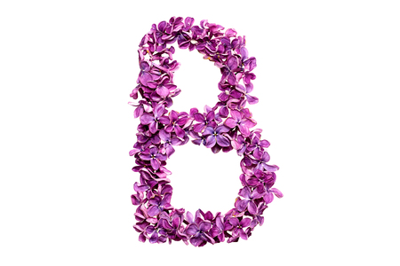qwerty: Flower letter lilac or purple color isolated on white background. Letter B