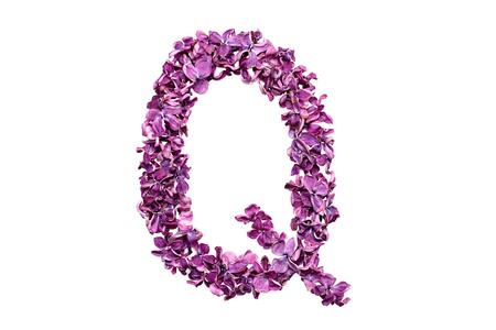 qwerty: Flower letter lilac or purple color isolated on white background. Letter Q Stock Photo