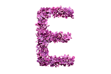 qwerty: Flower letter lilac or purple color isolated on white background. Letter E