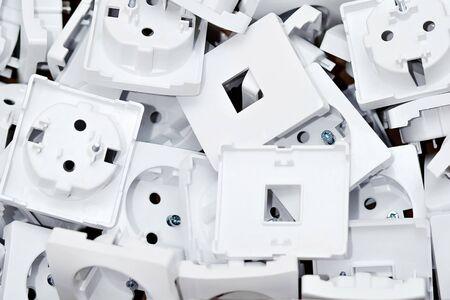 New white socket. Background, close up
