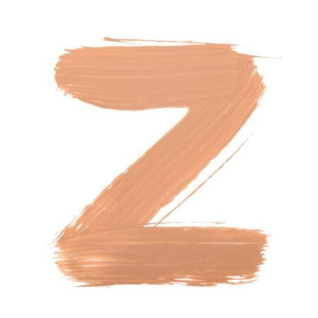Letter Z made with face skin concealer nude color