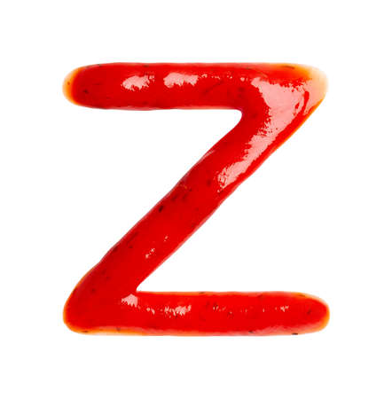 Contour letter Z made of red sauce isolated on white background, close up. Flat lay, top view.