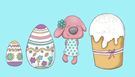 Easter Bunny with Easter cake and eggs