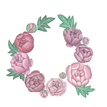 wreath of pink peonies on a light background