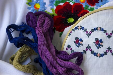Embroidered women's shirt in Ukrainian style, special threads for embroidery